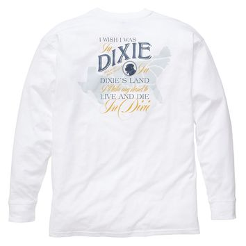 Dixie Land Long Sleeve Tee in White by Southern Proper