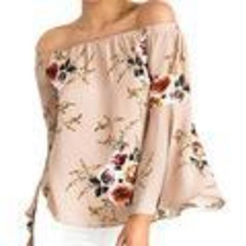 Cute Floral Printed Boho Shirts Loose Beach Women Summer Blouse Casual Off Shoulder Top Flare Sexy Slash Neck Blusa