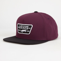 Vans Full Patch Mens Snapback Hat Burgundy One Size For Men 25805332001