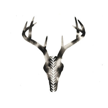 Original Watercolor . Deer Antler . Chevron . Graphic Black and White Art