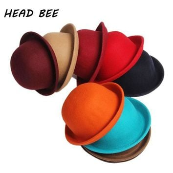[HEAD BEE] 2017 Fashion Winter Hat Fedora Vintage Lady Cute Children Trendy Wool Felt Bowler Derby Floppy Hats For Girl and Boy