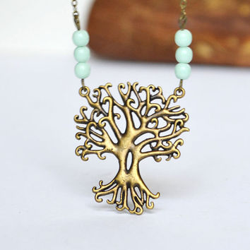Forest Tree Necklace, Tree Pendant Folk Necklace, Mint Glass Beads and Chain, Mystic Tree with Mint Beads, Canadian Jewelry