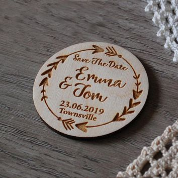 Personalized save the date magnet , Wedding Favors ,Wooden Magnet ,Rustic Heart Save the Date Anniversary Gift, Custom Bride and
