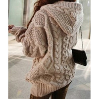 Solid Color Knit Hooded Sweater Coat