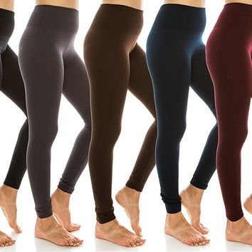 Women's High Waist Fleece Lined Leggings Regular and Plus Size