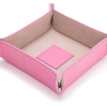 Leather Valet Tray, Pink, Jewelry Holders & Displays
