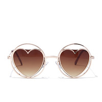 Round Cutout Heart Sunglasses