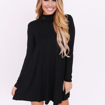 Long Sleeve Mock Neck Dress- Black