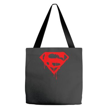 dripping blood superman Tote Bags