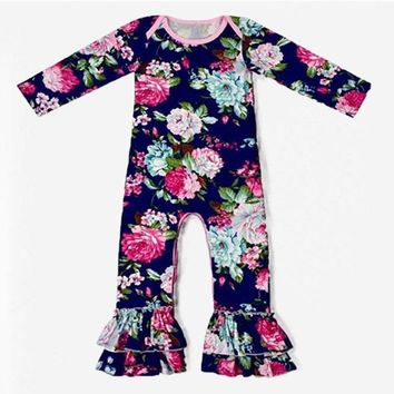 Navy Blue Floral Long Sleeve Ruffle Romper