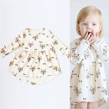 2017 Newborn Baby Girls Dress Kids Clothes Cute Fox Print Long Sleeve Princess Dress Toddler Girl Children Clothing Dresses