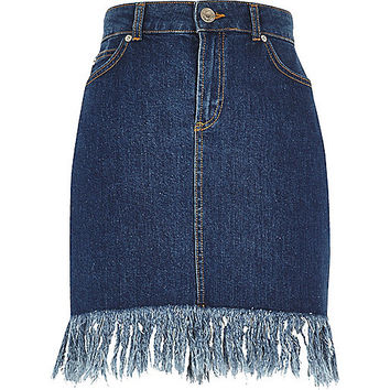 Medium blue frayed hem denim skirt - midi skirts - skirts - women