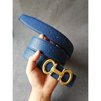 Ferragamo Fashion Woman Men Smooth Buckle Belt Leather Belt Blue