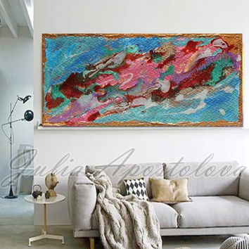 Blue and Pink Abstract Painting, Turquoise Artwork, Print, Gold Painting, Blue Abstract, Seascape, sea home decor, blue wall art,  large art