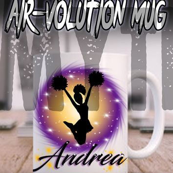 G011 Personalized Airbrush Cheer Pom Pom Ceramic Coffee Mug