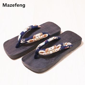 Summer Shoes Print Wood geta Men Slippers China Geta Clogs Classial Wooden Lovers Slippers Women Flip Flops Men Non-slip