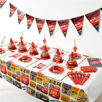 Disney Cars McQueen Kids Birthday Party Decoration Set Cars-Plex Party Supplies Baby Birthday Party Pack event party supplies