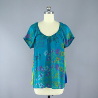 India Silk T-Shirt Blouse / Vintage Indian Sari / Indian Silk Blouse / Aqua Floral Print / Size Medium M