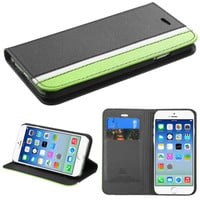 Book-Style Premium Wallet Case for iPhone 6 - Black/White/Green