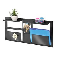 MMF Industries™ STEELMASTER® Multipurpose Wall Organizer, 2 Slots and 2 Shelves, Black | Staples®