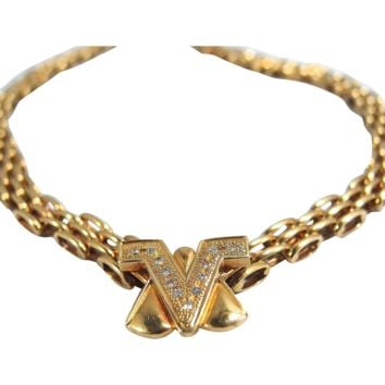 Stamped Italian designer necklace in 18K solid gold and diamonds signed and numbered