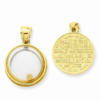 14k Gold Mustard Seed Domed If Ye Have Faith Pendant