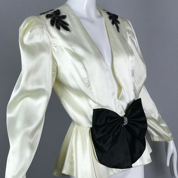 ViNtAgE 80s does 30s Satin Bow Jacket Sequin Rhinestone 40s Glam Peplum Smoking Blazer Coat opera Evening Glam Gatsby White Black Deco
