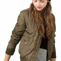 Women's Army Green Bomber Jacket