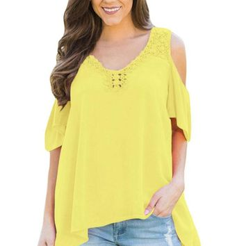 Yellow Crochet Neck and Back Cold Shoulder Top