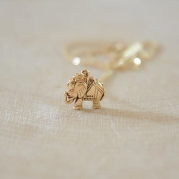 Dainty Bronze Elephant Necklace, Good Luck Necklace, Mother's Necklace, Friendship Necklace,