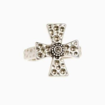 The Hammered Cross Signet Ring - Silver
