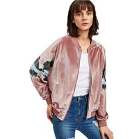 Pink Velvet Jacket with Eagle Details