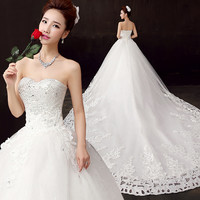Bow bridal dress, sexy, fashion princess lace up wedding dresses