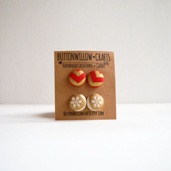 Fabric Button Earrings, Holiday Button Earrings, Christmas Gift, Stocking Stuffer, Party Favors, Birthday Gift, Chevrons. Niners, Snowflakes