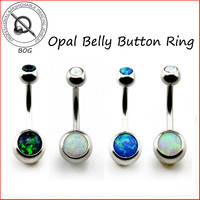 BOG-1 Piece 316L Surgical Steel Opal Stone Belly Button Ring Navel Bar Piercing Nombril Ombligo Body Jewelry 14g