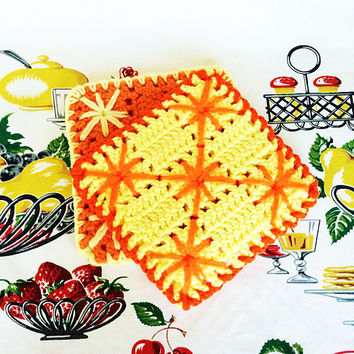 Retro Crocheted Potholders Hot Pads Oven MittsYellow and Orange 1960s Crochet Vintage Kitchen H
