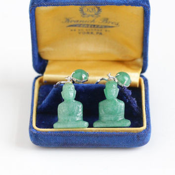 Vintage Sterling Silver Buddha Screw Back Earrings - 1940s Late Art Deco Genuine Green Carved Aventurine Quartz Dangle Drop Asian Jewelry