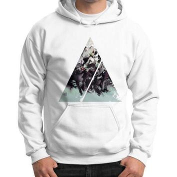 CREYUG7 Geometric Conversation Gildan Hoodie (on man)