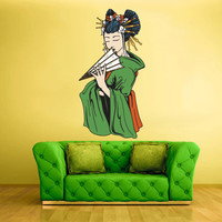 Full Color Wall Decal Mural Sticker Art Geisha Asian Japan Japanese Girl Woman fan (col184)