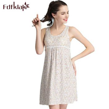 Sexy Nightdress Summer New Women's Lingerie Elegant Nightgowns Sleepwear For Girl Sleeveless Print Cotton Nightgowns Women Q290