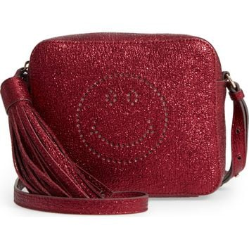Anya Hindmarch Smiley Metallic Leather Crossbody Bag | Nordstrom