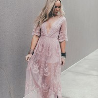 In the Deep Lace Maxi Romper - Mauve
