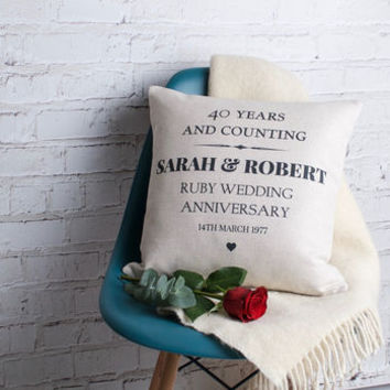 Ruby Wedding Anniversary Cushion Cover