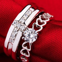 2PCS Silver Ring for Couple Rings Men/Women Heart Love Rings with AAA Diamonds Bridal Jewelry Premise Ring Valentine's Day Rings Ulove J391