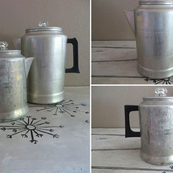 Aluminum Coffee Pot Coffee Perculator Aluminum Pot Vintage Coffee Kettle Camping Gear Camping Kettle Aluminum Kettle Aluminum Perculator