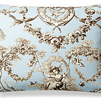 Toile 12x6 Cotton Pillow, Sky Blue