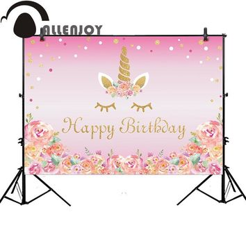 Allenjoy unicorn photography backdrop birthday pink flower party dots background photocall customize photo studio photobooth