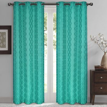 Turquoise Willow Blackout Window Curtain Panels (Two Panels )