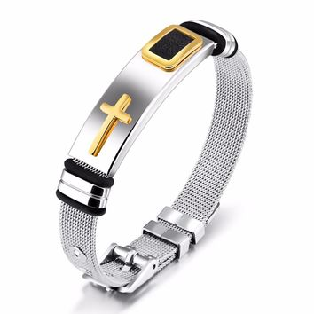 Wire Mesh Chain Bracelet Cross Men Jewelry Stainless Steel Black/Gold Color Bracelets Bangles Length Adjustable 2 Colors GH878