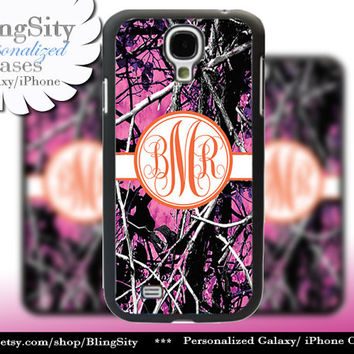 Camo Orange Monogram Galaxy S4 case S5 RealTree Muddy Camo Personalized Samsung Galaxy S3 Case Note 2 3 Cover Country Girl